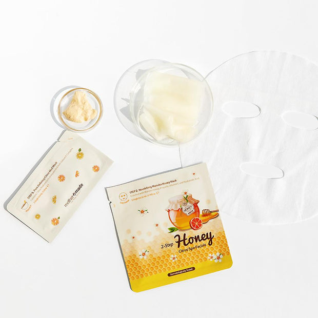 MOTHER MADE 2 Step Honey Citrus Spa Facials. For oily, acne, blackhead prone skin. Step 1 - blackhead clearing and pore minimizing amazonian clay mask infused with citrus fruit extracts. Step 2 - Hydrating and nourishing manuka honey sheet mask. Facial treatment at home for clear skin.