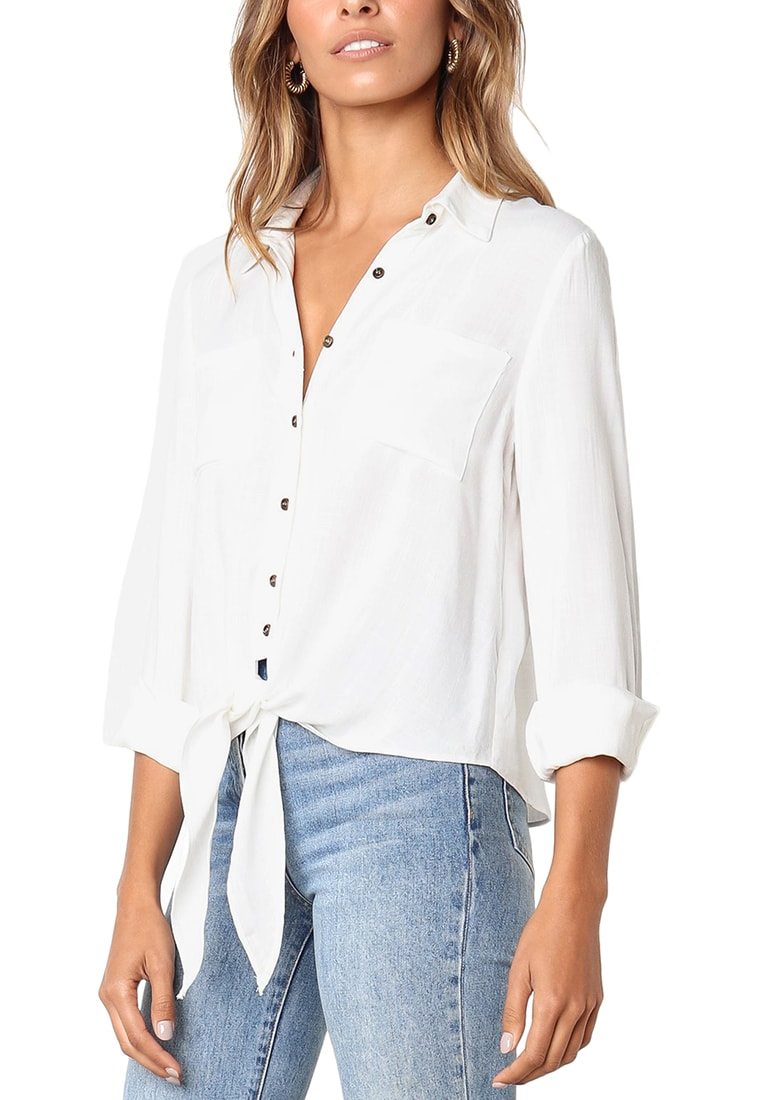 166b207fe9ced2 Casual 3 4 Sleeve Shirts Button Up Solid Tie Front Blouse Top – Roskiki