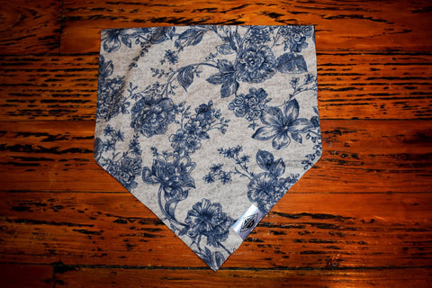 Grey and Navy Floral Wandermutt Bandana