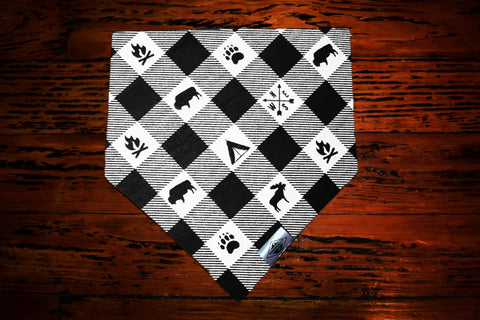 Happy Camper Black and White Wandermutt Bandana
