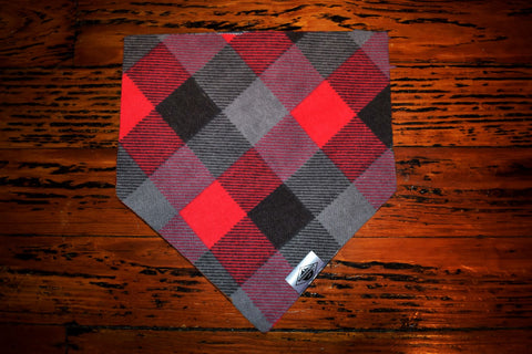 Red, Grey, and Black Plaid Wandermutt Bandana