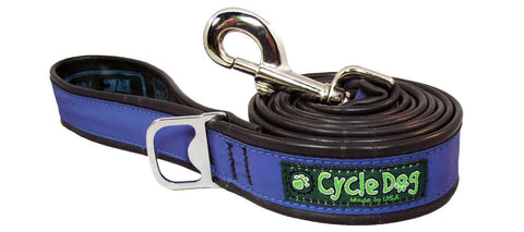 Blue Reflective Bike Tube Dog Leash with Bottle Opener