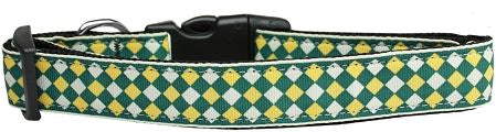 Green and Yellow Checkers Nylon Collar