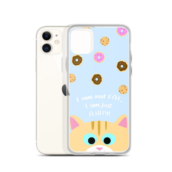 Not Fat Ginger Cat iPhone Case (Light Blue)
