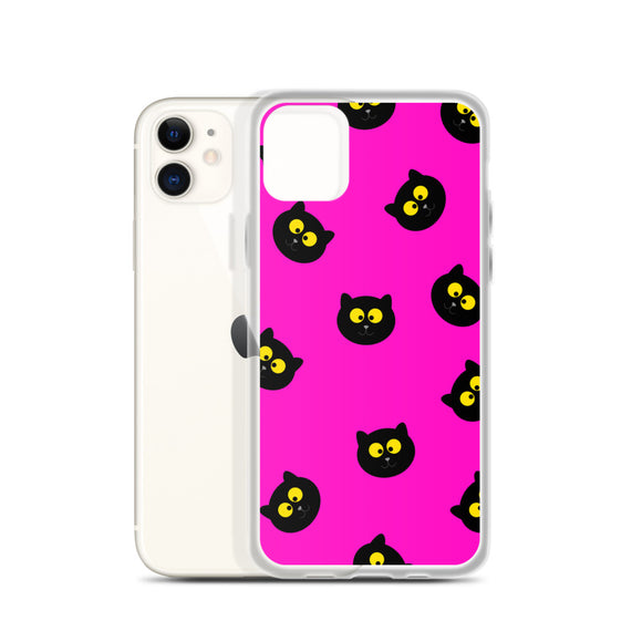 Black Cat iPhone Case (Pink)