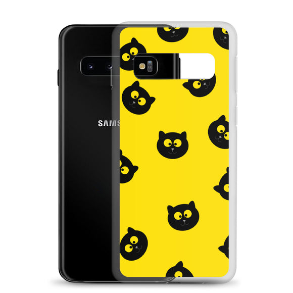 Black Cat Samsung Case (Yellow)
