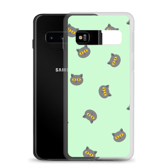 Grey Cat Samsung Case (Light Green)