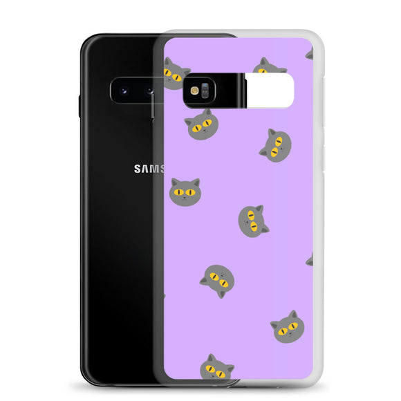 Grey Cat Samsung Case (Purple)