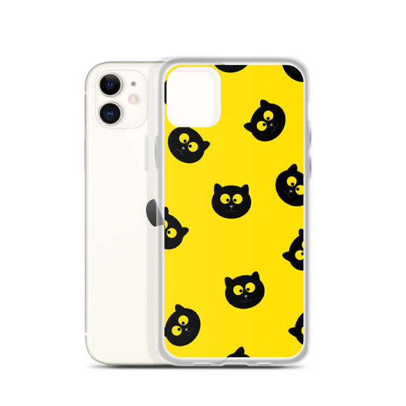Black Cat iPhone Case (Yellow)