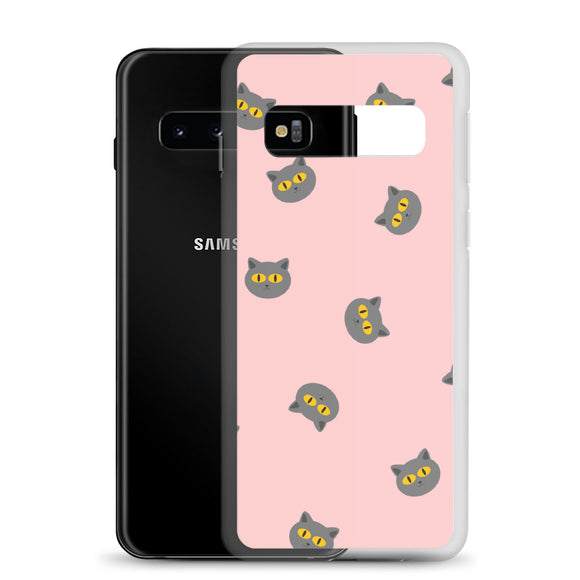 Grey Cat Samsung Case (Pink)