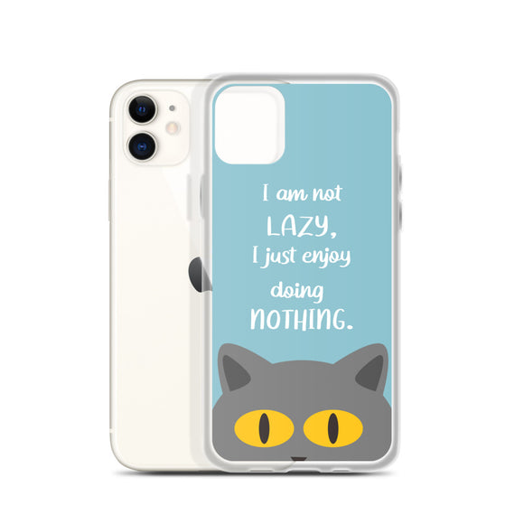 I Am Not Lazy Grey Cat iPhone Case (Light Blue)
