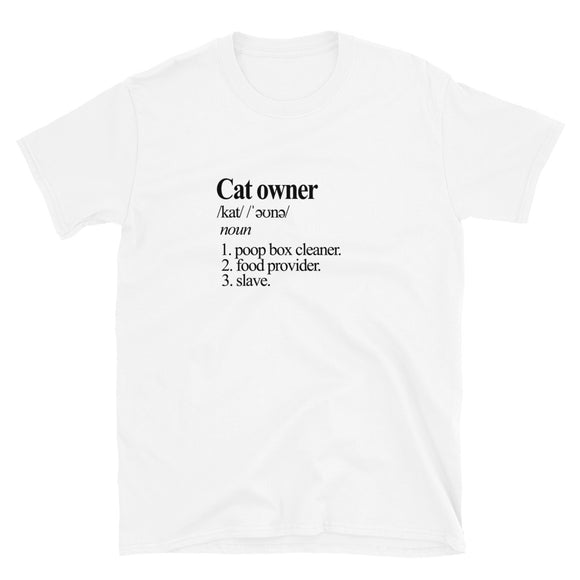 Cat Owner Unisex T-Shirt (White/ Black)