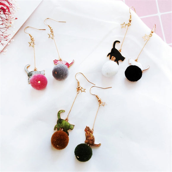 Pom Pom Cat Earrings
