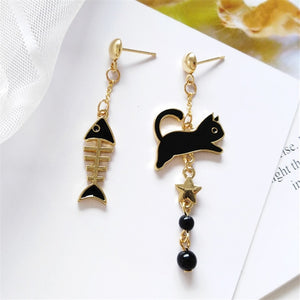 Cat and Fish Bone Earrings
