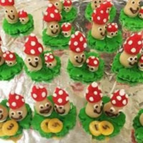 Handcrafted edible Good Luck Marzipan Figures (mushrooms)