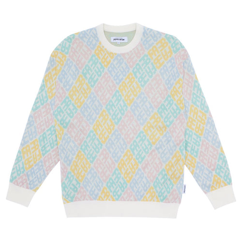 Fucking Awesome - Monogram Sweater White/pink/blue/yellow/teal
