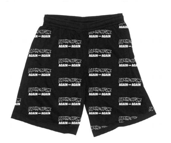 Fucking Awesome - Again And Again Mesh Shorts Black / White Art