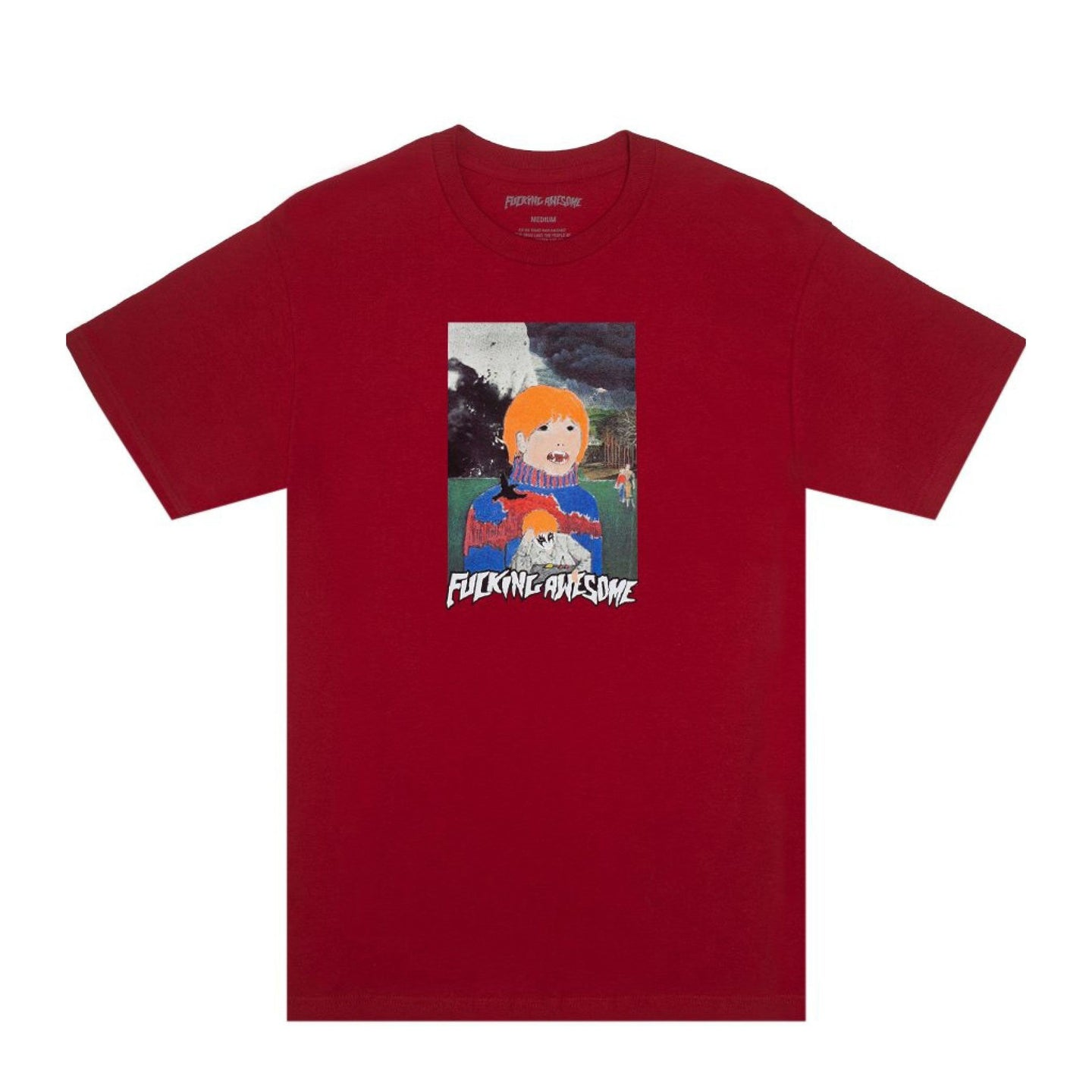 Fucking Awesome Painted Aidan Tee Scarlet Red