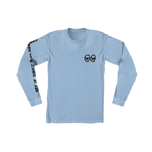 Krooked Stock Strait Eyes L/S Tee Carolina Blue