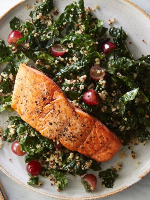 Monday 12th November – Pan Fried Salmon with Kale, Lentils & Miso Dressing