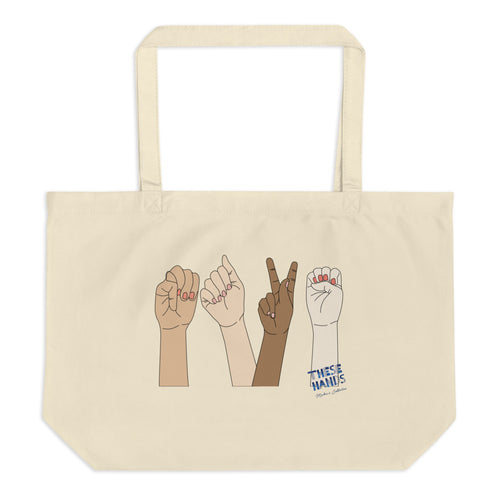 M.A.K.E. Sign Language Large organic tote bag
