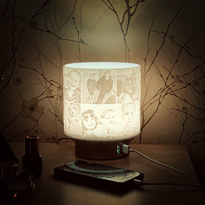 Sculpted Photo Memory Shade Touch Lamp Twin USB chargers, couples gift, gift to share, Bedside, Office or Nursery