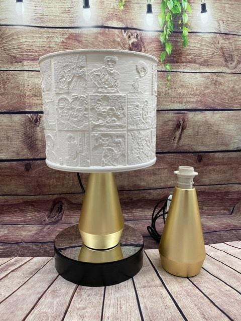 27 Lithophone Photo Shade & Maya Gold Touch Lamp with LED Bulb