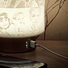 Father's Day Photo lamp with twin powered usb port charge two devices