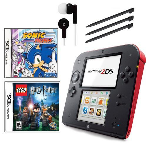 Nintendo 2DS Red Bundle with 2 Games and Accessories