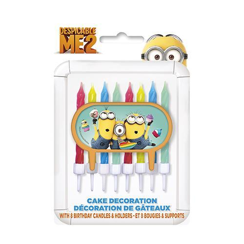 Despicable Me Cake Decor with 8 Candles and Holders