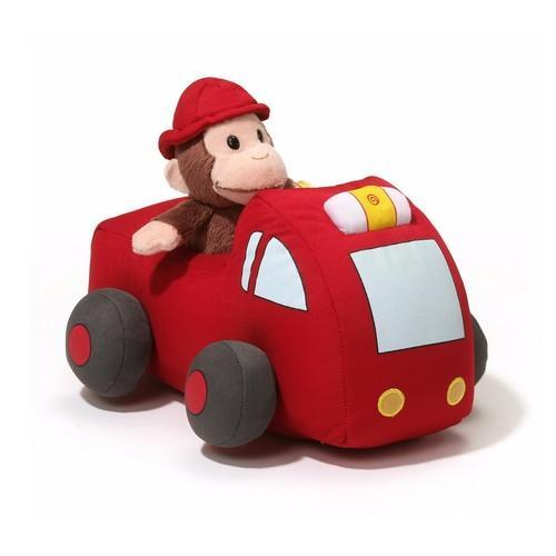Gund Curious George Plush Firetruck Set