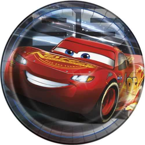 Disney Cars III 9-Inch Dinner Plates [8 Per Pack]