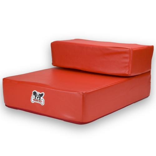 Red Leather Folding Pet Stairs