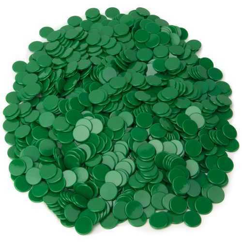 Solid Green Bingo Chips, 1000-pack