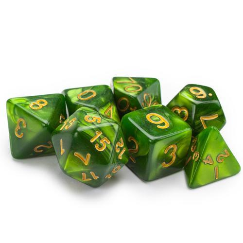 7 Die Polyhedral Set in Velvet Pouch, Jade Oil