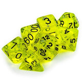 7 Die Polyhedral Set in Velvet Pouch, Boiled Bile