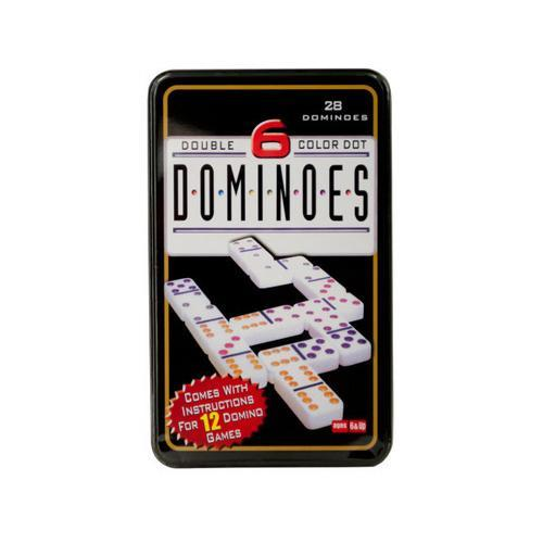 Double-Six Color Dot Dominoes Game Set ( Case of 4 )
