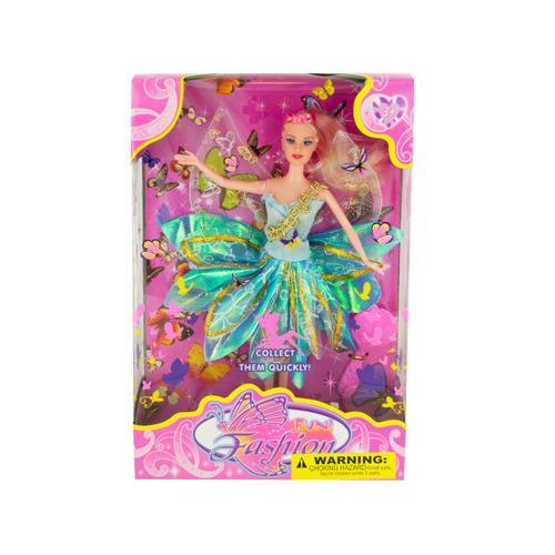 Butterfly Fairy Fashion Doll with Hairbrush ( Case of 1 )