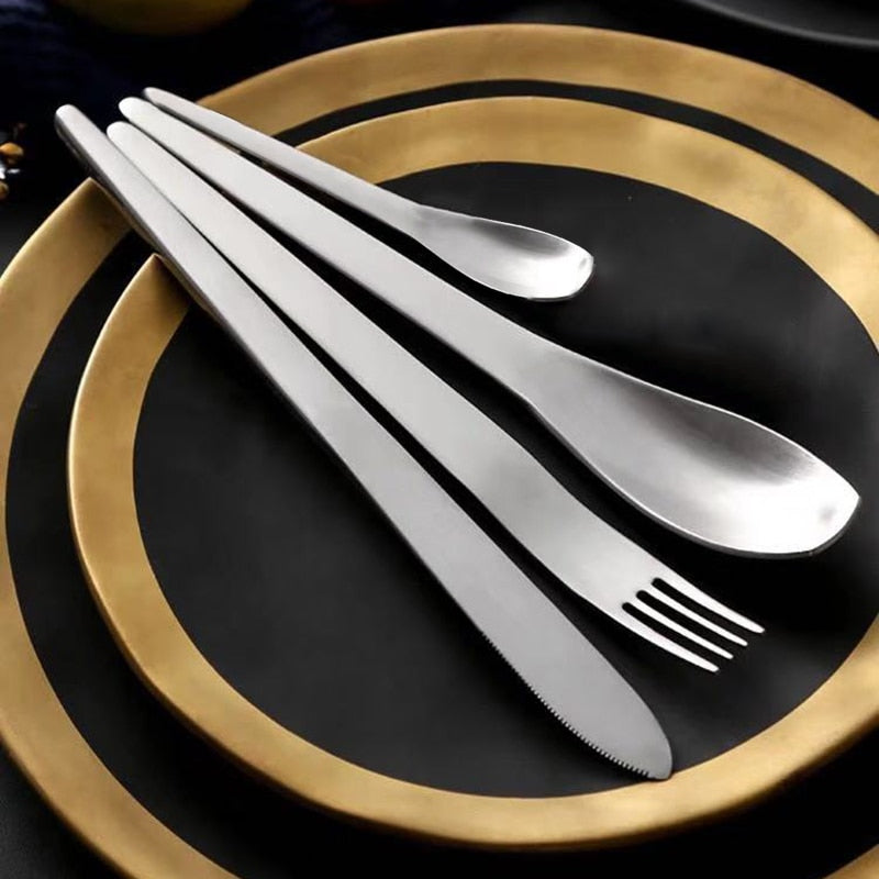 Matte Silver Stainless Steel Cutlery Set