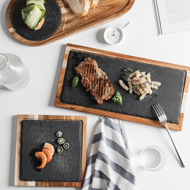 Solid Black Wood Food Plates