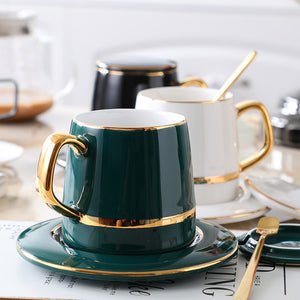 Retro Luxurious Coffee Cup With Spoon and Coaster Lid