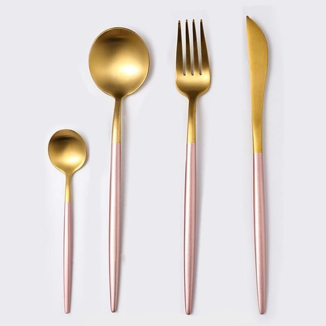 Black & Gold Stainless Steel Cutlery Set