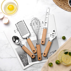 Stainless Steel & Wooden Handle Kitchen Tool Set