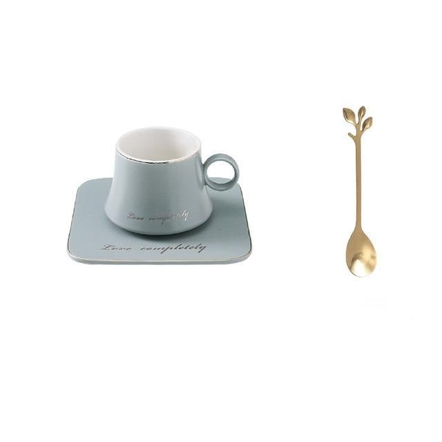 Nordic Uniquely Shaped Ceramic Mug with Spoon and Saucer