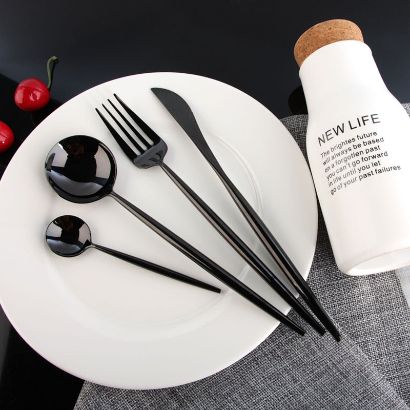 Shiny Stainless Steel Tableware Set