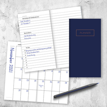 Bright Navy Undated Monthly Pocket Planner