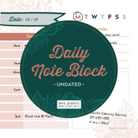 Undated Boho Daily Note Block Calendar
