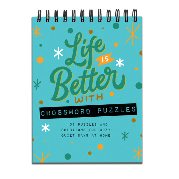 Life is Better with Crossword Puzzles Book Spiral Puzzle Pad