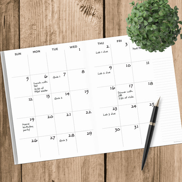 Emerald Green Undated Large Monthly Planner