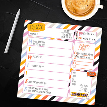 Super Stripe Weekly Square Schedule Pad